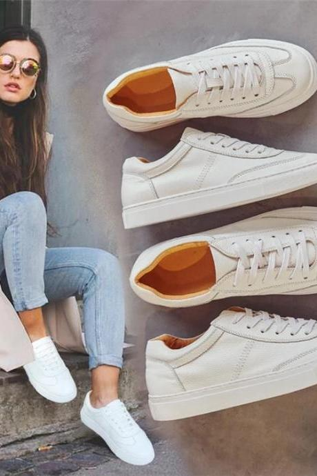 Classic Casual White Lace-Up Leather Sneakers