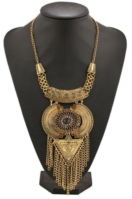 New fashion long tassel retro diamond necklace