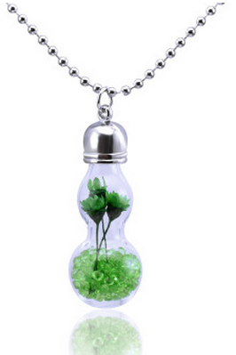 Hollow glass flower colorful gourd Pendant Necklace
