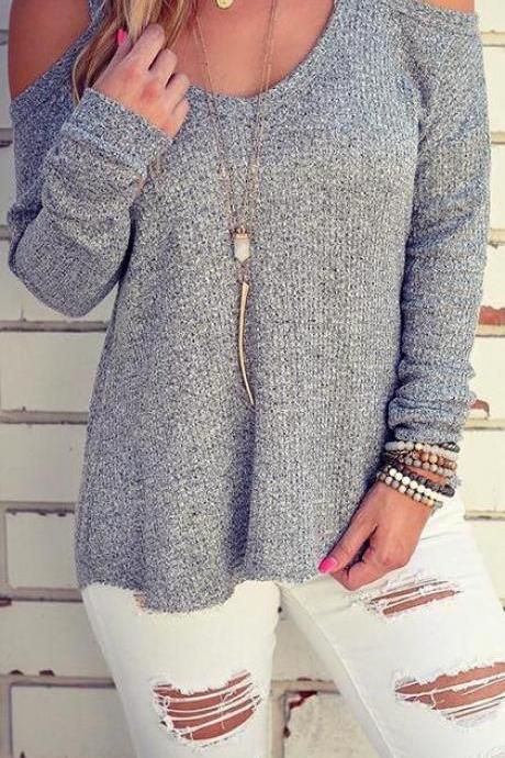 Sexy Dew Shoulder Loose Sweater