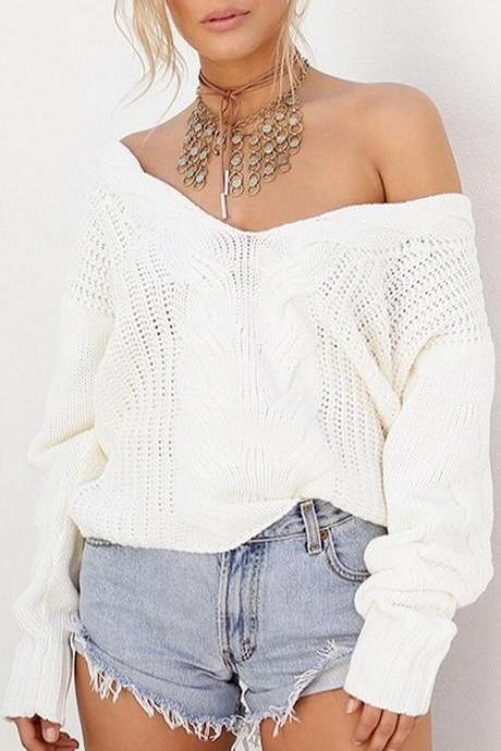White Cable Knit Plunge V Long Cuffed Sleeves Sweater