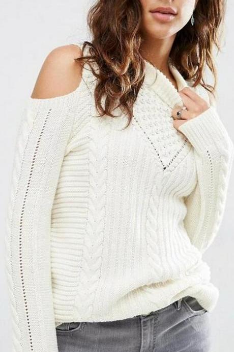 Sexy Dew Shoulder Long Sleeve White Sweater