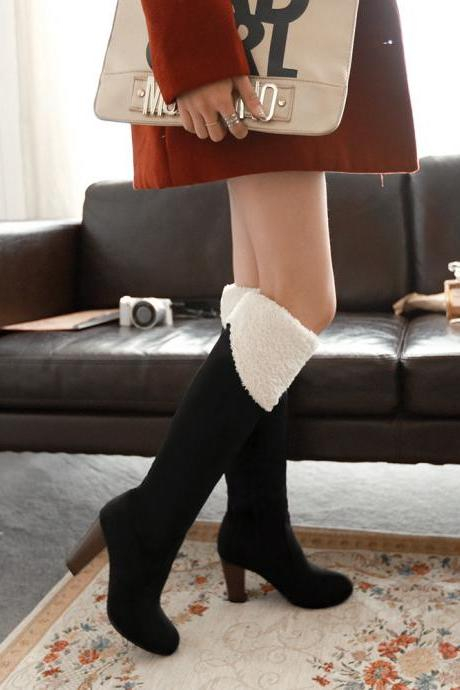 Adjustable Over Knee Chunky Heel Fur High Boots