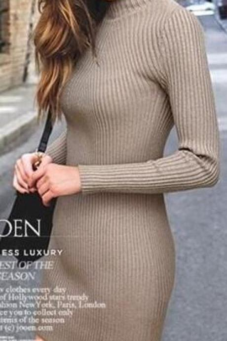 High Neck Bodycon Knitting Sweater Dress
