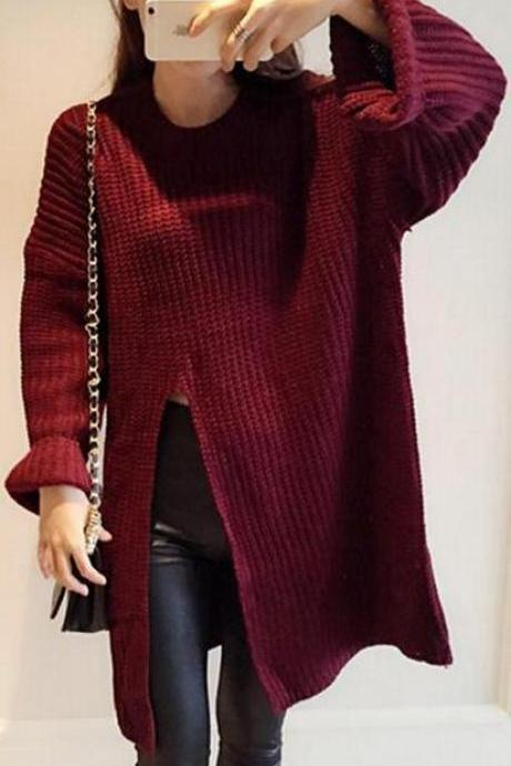Loose Irregular Side Splitting Knitting Sweater