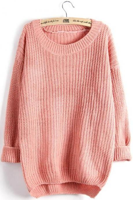 Pure Color Plus Size Dim Hem Sweater