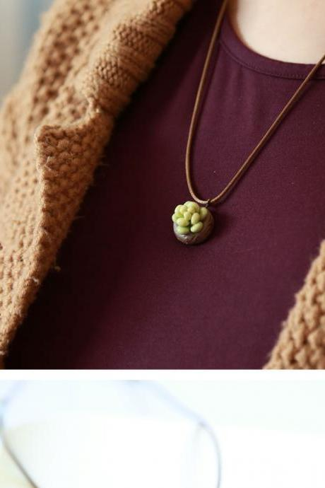 Succulents handmade simple fresh ceramic Necklace