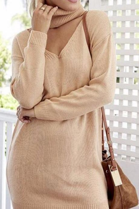 Fashion High Neck Pullover Knitting OL Sweater Dress