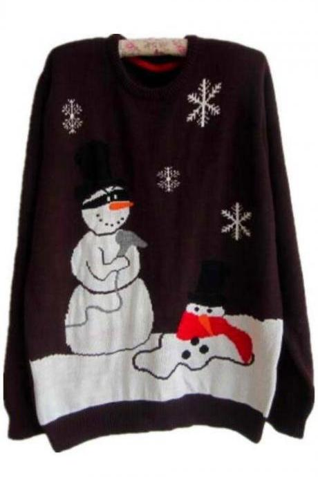 Plus Size Christmas Snowman Penguin Scoop Long Sleeve Sweater