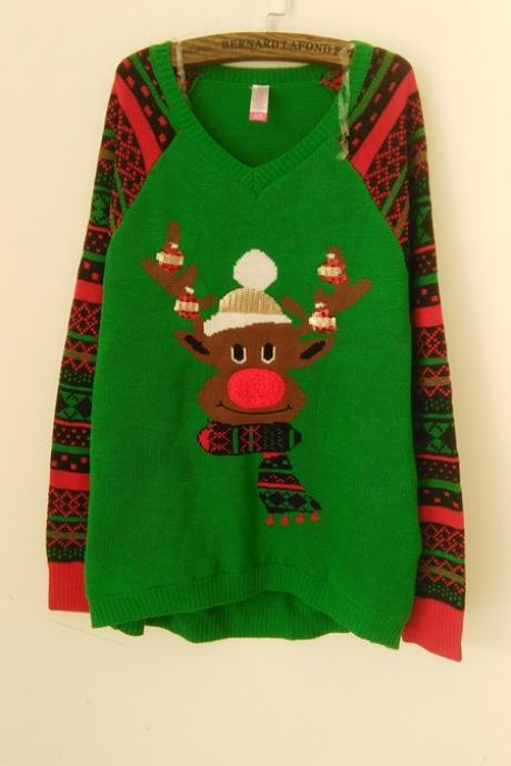 Christmas Elk Sequins Splicing Long Sleeve Green Knitting Sweater
