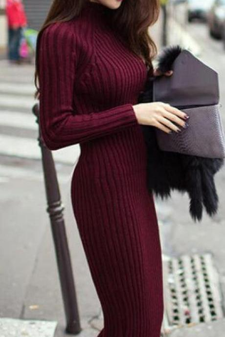 Fashion Ribbed High Neck Long Sleeve Knit Long Sweater Dress