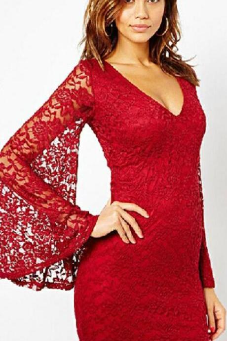 Sexy Lace V Neck Bell Sleeve Short Bodycon Dress