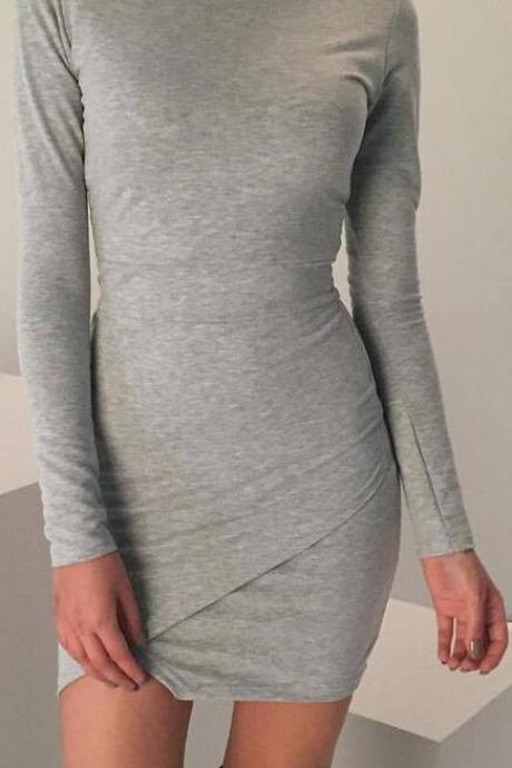 Fashion Long Sleeve Irregular Hem Bodycon Short Dress