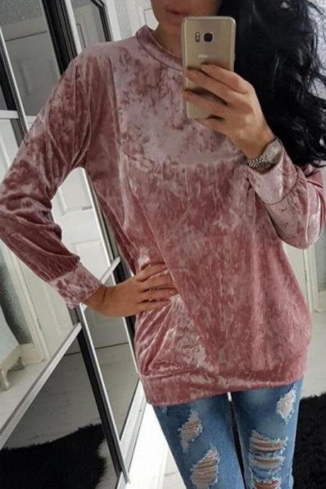 Fashion Velvet Scoop Leisure Loose Style T-shirts