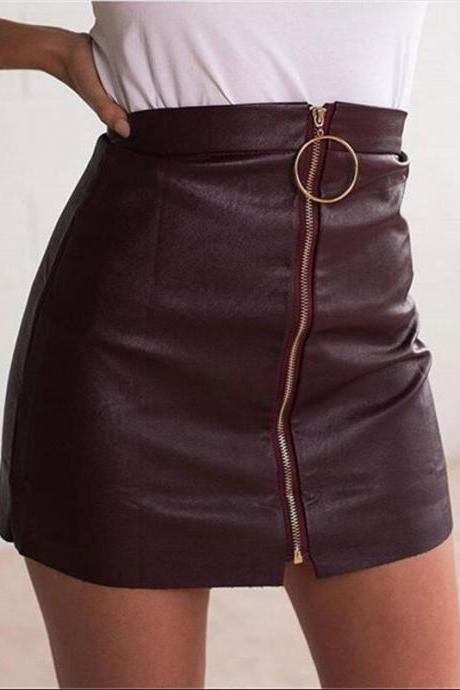 Black Faux Leather Mini Pencil Skirt Featuring Front Zipper and Ring Detail