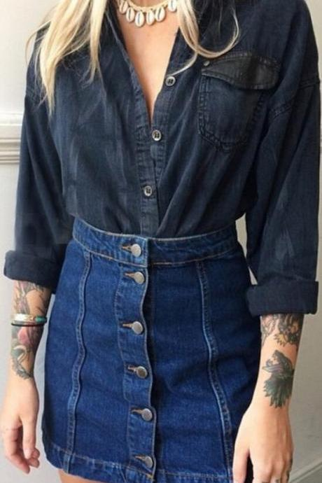 Denim Blue Button Decorate Patchwork Short Skirt