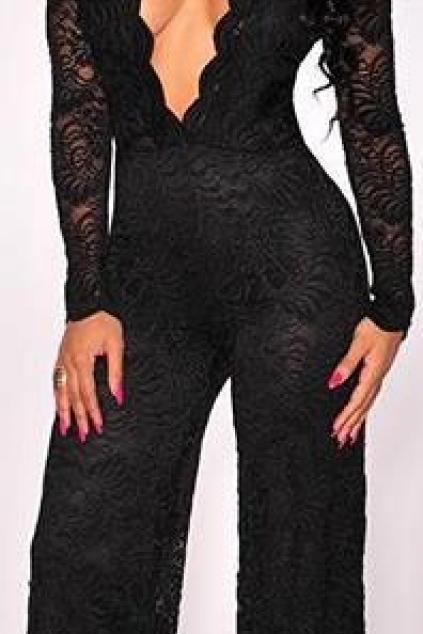 Black Lace Deep V-neck Long Sleeve Wide Leg Long Jumpsuit