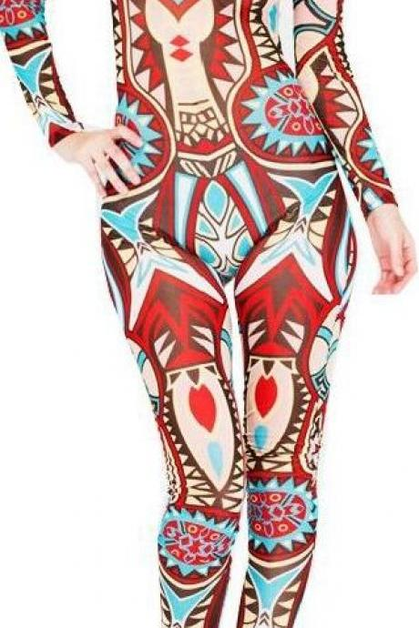 Sexy Tattoo Print Long Sleeve Slim Long Jumpsuit