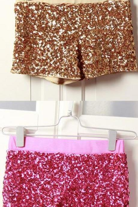 Shining Sequins Low Waist Bodycon Shorts