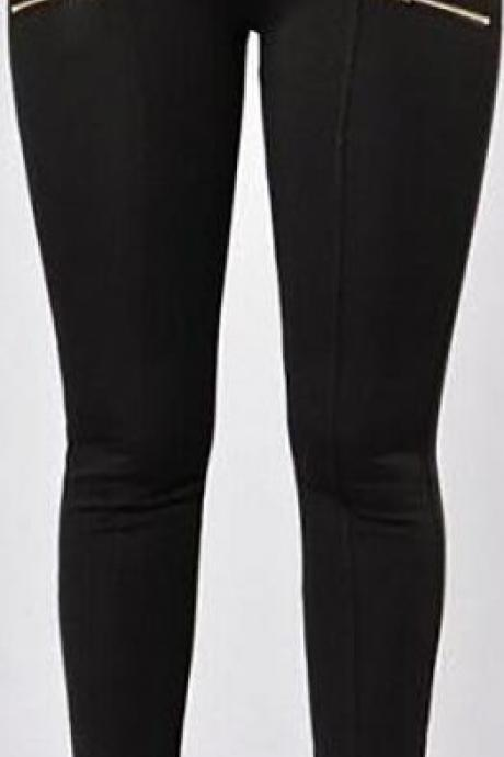 Elastic High Waist Zipper Slim Long Pencil Pants