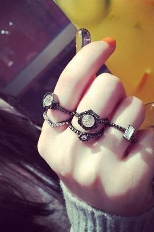 Fashion set auger round pearl set gem five rings