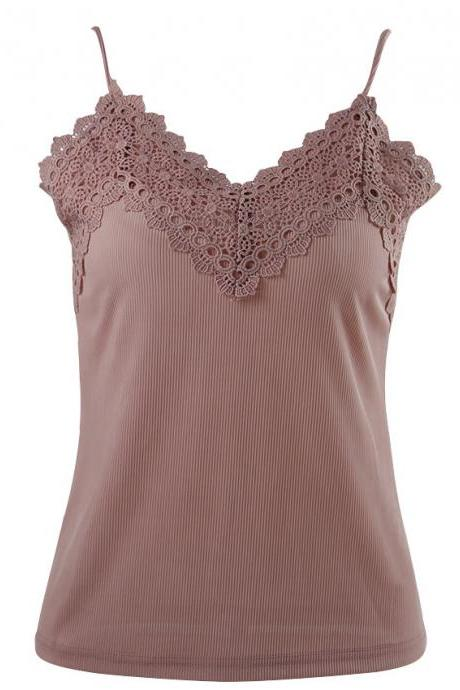 Lace Appliques Plunge V Ribbed Camisole