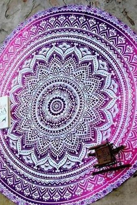 Fashion Totem Printing Round Beach Mat Towel Shawl