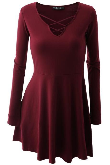 V-neck Long Sleeves Solid A-line Sheath Short Dress