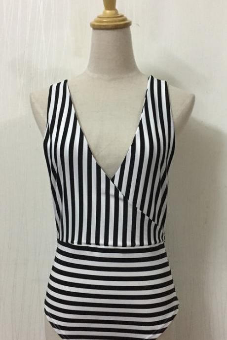 Summer Stripes Sexy Backless One Pieces Swimwear