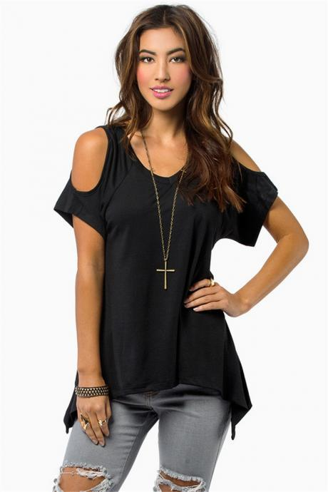 Loose Round Collar Off Shoulder Irregular Short Sleeve T-shirt