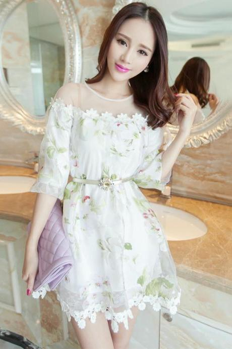 Printed Organza Perspective Off Shoulder Dress