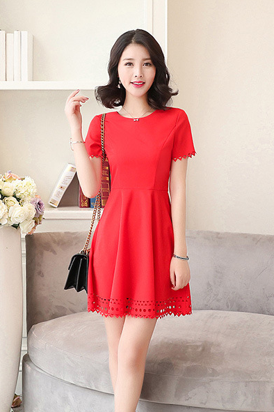 New Summer Cotton And Linen Hollow Out Party Dress