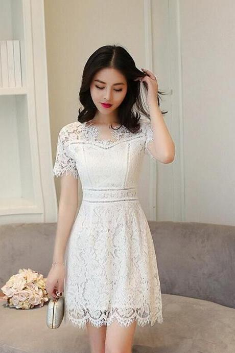 Fashion Eyelash Lace Hollow Out Short Sleeves Dress