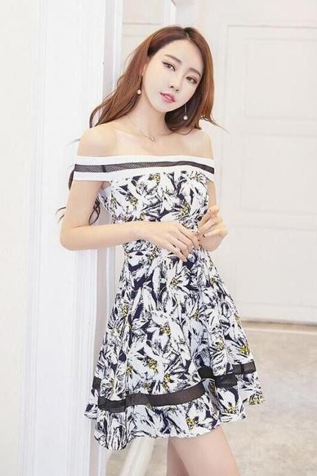 Printed Gauze Hollow Out Sexy Strapless Dress