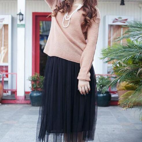 Double Net Yarn Chiffon Pure Color Beach Skirts