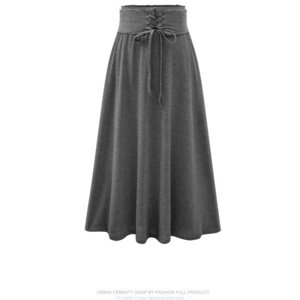 Women's Long Midi Skirt with Elastic Waist Band and Cinched Belt