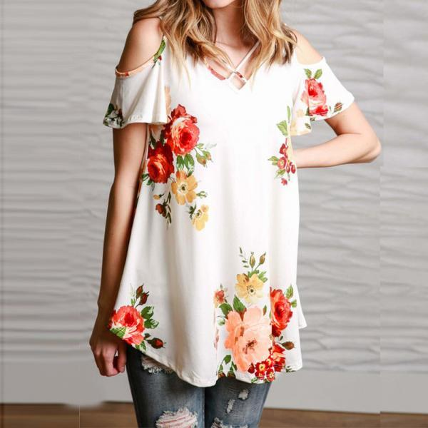 Summer Dew Shoulder Flower Printed T-shirts