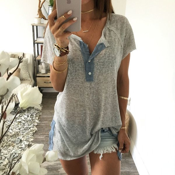 Hot Style Short Sleeve Micro Through Open Fork T-shirt