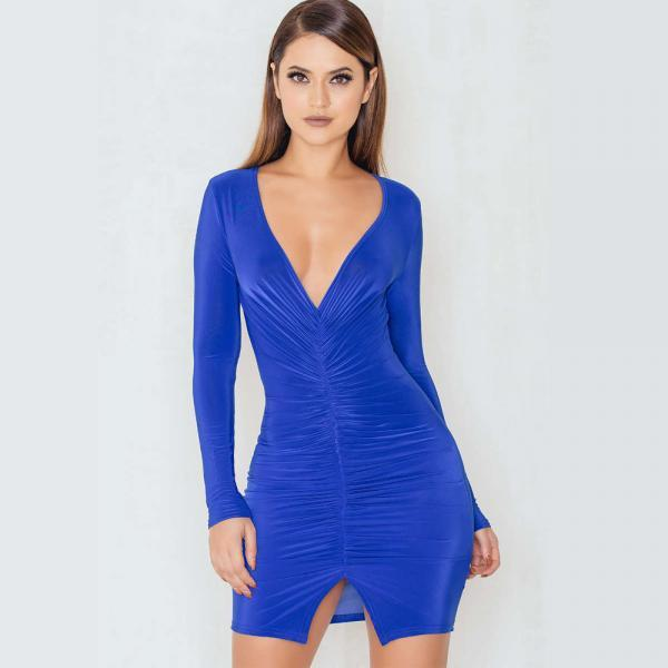 V-Neck Long Sleeve Pleated Sexy Open Fork Dress