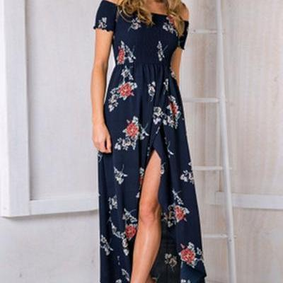 Print Off Shoulder Backless Irregular Split Long Dress