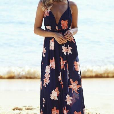 Spaghetti Straps V-neck Flower Print Long Dress