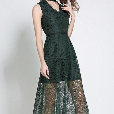 Sex V-neck Pure Color Lace Long Dress