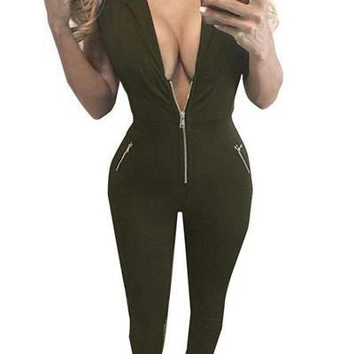 V-neck Pure Color Long Jumpsuit