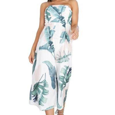 Strapless Floral Print Wide Legs Tee-length Jumpsuit
