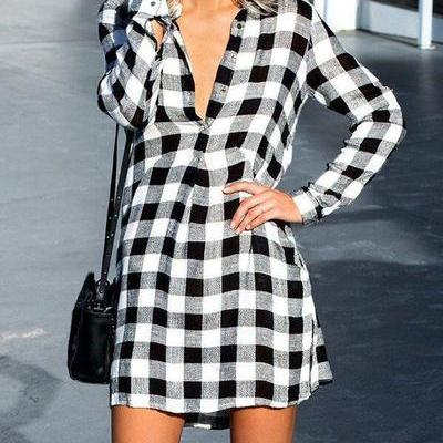 V-neck Plaid Long Sleeves Long Blouse