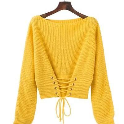 Knitted Bateau Neck Corset Cropped Sweater Featuring Long Cuffed Sleeves