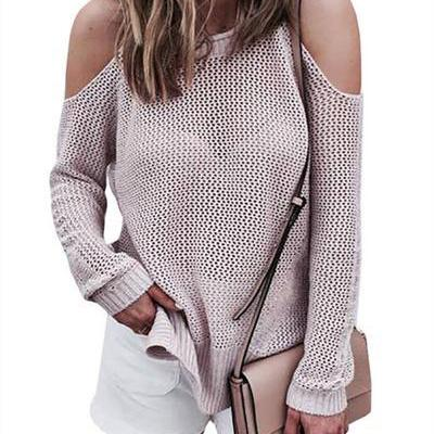 Long Sleeves Bear Shoulder Pure Color Scoop Loose Sweater
