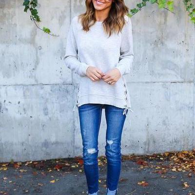 Irregular Pure Color Long Sleeves V-neck Regular Sweater