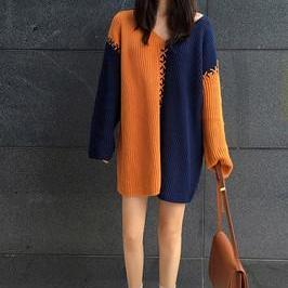 Color Block V-neck Long Sleeves Loose Pullover Sweater
