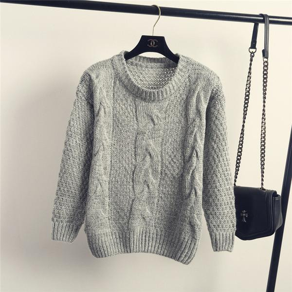 Pure Color Cable Knit Wear Long Sleeves Scoop Sweater
